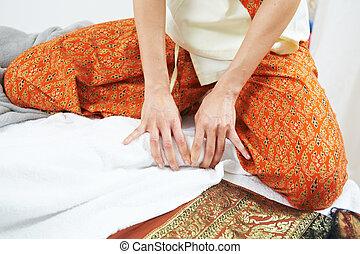 pétrissage, traditionnel, santé, pied, thaï, masage, soin