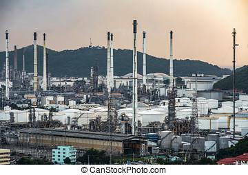 pétrochimique, -, essence, usine, raffinerie, huile, crépuscule
