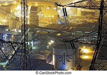 pétrochimique, nuit, usine industrielle