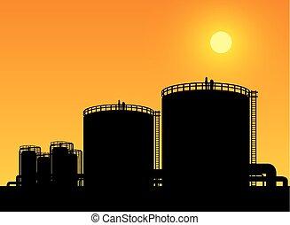 pétrochimique, réservoir, propriété, industrie, stockage, raffinerie, huile