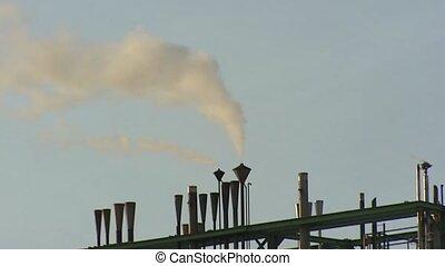 pétrochimique, raffinerie, acier, canaux transmission, -, grand plan