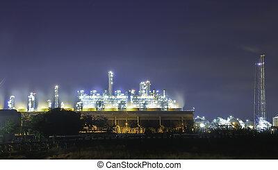 pétrochimique, raffinerie, -, crépuscule, usine, essence, huile