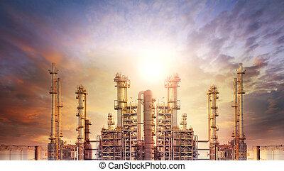 pétrochimique, raffinerie, extérieur, plante, produc, tube, huile