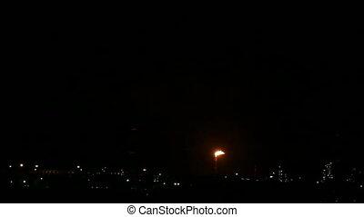 pétrochimique, usine, nuit