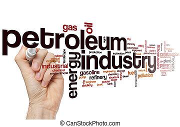 pétrole, industrie, mot, nuage
