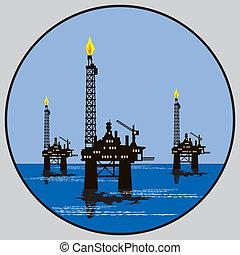 pétrole, plate-forme, emblème