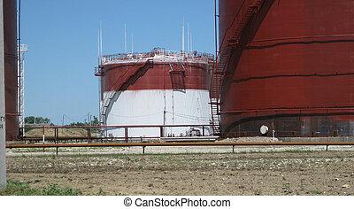 pétrole, stockage, produits, réservoirs