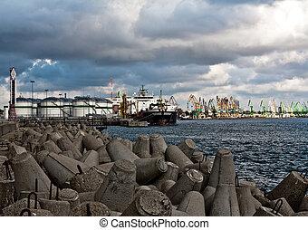 pétrole, terminal, vaisseau, port
