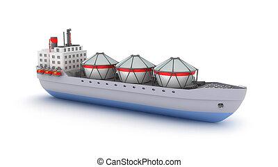 pétrolier, bateau, blanc, arrière-plan., mon, propre, design.