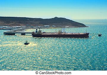 pétrolier, chargement, mer, huile, port