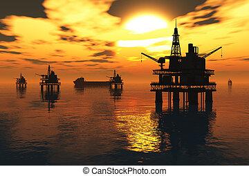 pétrolier, mer, plate-forme, huile