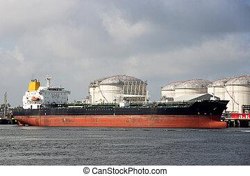 pétrolier, port, huile, silo