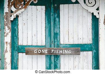 pêche allée, portes, a mûri, signe