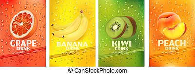 pêche, drink.fresh, together-, fruits., étiquettes, banane, vecteur, fruits, ensemble, irrigation, frais, illustration, jus, fruit, pamplemousse, boisson, 3d, kiwi, splashing.