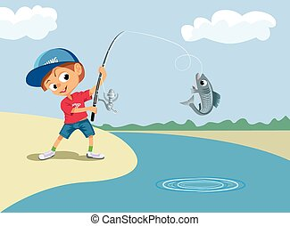 pêche garçon, dans, a, rivière