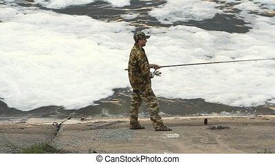 pêche homme, jeune, lac
