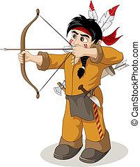 pêcherie, chef, indien, jeune