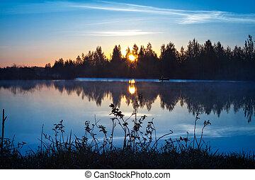 pêcheur, à, levers de soleil
