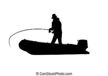 pêcheur, bateau, poissons