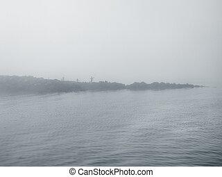 pêcheur, brumeux, dimanche, jour