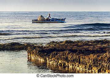 pêcheur, dans, a, bateau