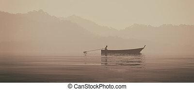 pêcheur, dans, a, bateau, sur, les, lac
