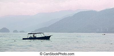 pêcheur, levers de soleil