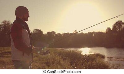 pêcheur, loisir, tige, river., automne, rotation, fish,...