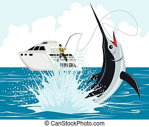pêcheur, marlin, prises