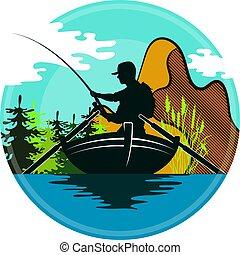 pêcheur, montagnes, bateau
