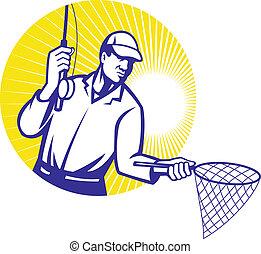 pêcheur mouche, peche, woodcut, retro