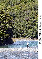 pêcheur, pêche mouche, dans, fiordland