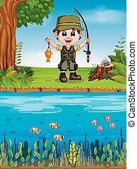 pêcheur, peche, dans, a, rivière