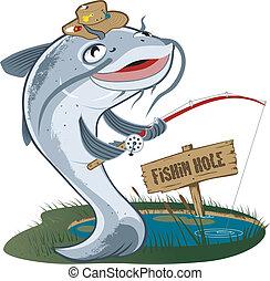 pêcheur, poisson-chat