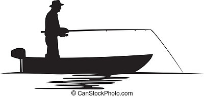 pêcheur, silhouette, bateau
