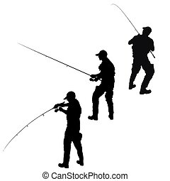pêcheur, silhouette