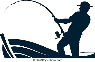 pêcheur, tige, bateau pêche