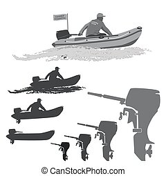 pêcheurs, m, club, bateaux