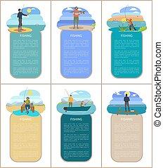 pêcheurs, plate-forme, peche, banque, bateau