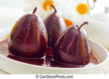 pêra, com, chocolate, alimento doce