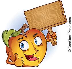 pêssego, caricatura, personagem, com, sinal