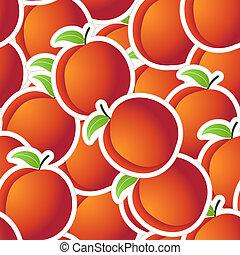pêssegos, seamless, fundo, vermelho