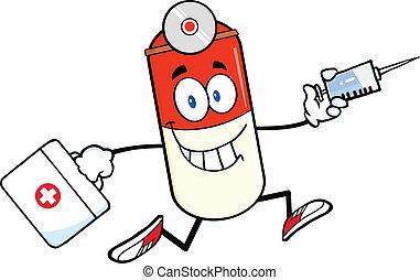 píldora, cápsula, corriente, con, un, jeringuilla