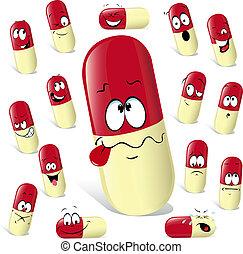 píldora, caricatura, con, muchos, expresiones