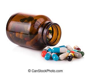 píldoras, cápsulas, aislado, blanco, plano de fondo