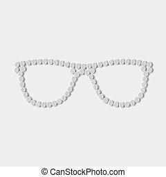 píldoras, concept:, anteojos