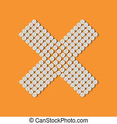 píldoras, concept:, cruz, no