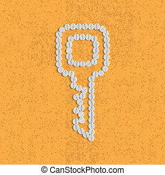 píldoras, concept:, llave