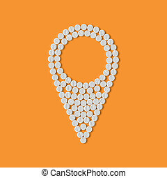 píldoras, concept:, mapa, indicador, navegante, gps