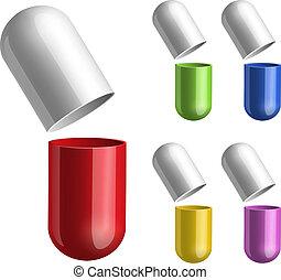 píldoras, conjunto, abierto, halfs, dos